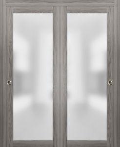 Planum 2102 Interior Modern Closet Bypass Doors Ginger Ash with Tracks Pulls Hardware