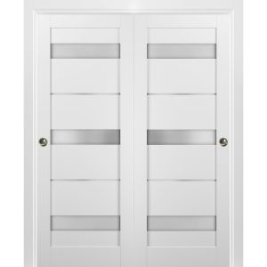 Sliding Closet Bypass Doors with hardware   Quadro 4055 White Silk with Frosted Opaque Glass   Sturdy Rails Moldings Trims Set   Kitchen Lite Wooden Solid Bedroom Wardrobe Doors