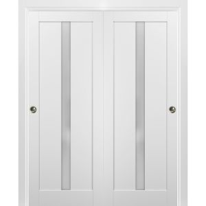 Sliding Closet Bypass Doors with hardware | Quadro 4112 White Silk with Frosted Opaque Glass | Sturdy Rails Moldings Trims Set | Kitchen Lite Wooden Solid Bedroom Wardrobe Doors