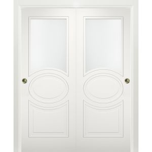 Sliding Closet Opaque Glass Bypass Doors / Mela 7012 Matte White / Rails Hardware Set / Wood Solid Bedroom Wardrobe Doors
