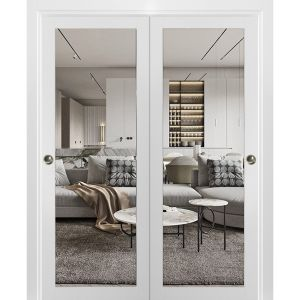 Sliding Closet Clear Glass Bypass Doors | Lucia 2166 White Silk | Sturdy Rails Moldings Trims Hardware Set | Wood Solid Bedroom Wardrobe Doors