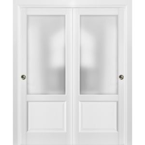 Sliding Closet Bypass Doors with hardware | Lucia 22 White Silk with Frosted Opaque Glass | Sturdy Rails Moldings Trims Set | Kitchen Lite Wooden Solid Bedroom Wardrobe Doors