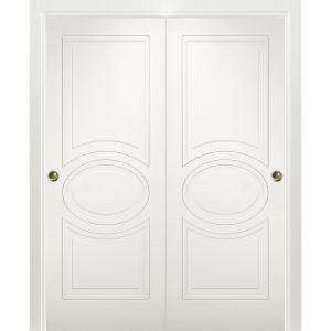Sliding Closet Bypass Doors / Mela 7001 Matte White / Rails Hardware Set / Wood Solid Bedroom Wardrobe Doors
