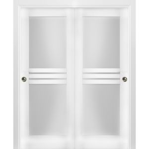 Sliding Closet Opaque Glass 4 Lites Bypass Doors / Mela 7222 White Silk / Rails Hardware Set / Wood Solid Bedroom Wardrobe Doors