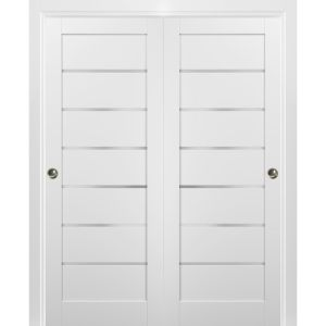 Sliding Closet Bypass Doors with hardware | Quadro 4117 White Silk with Frosted Opaque Glass | Sturdy Rails Moldings Trims Set | Kitchen Lite Wooden Solid Bedroom Wardrobe Doors
