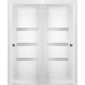 Sliding Closet Opaque Glass Bypass Doors / Sete 6900 White Silk / Rails Hardware Set / Wood Solid Bedroom Wardrobe Doors