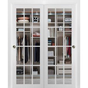 Sliding Closet Clear Glass 12 lites Bypass Doors | Felicia 3355 Matte White | Sturdy Rails Moldings Trims Hardware Set | Wood Solid Bedroom Wardrobe Doors