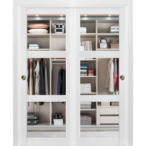 Sliding Closet Clear Glass 3 Lites Bypass Doors | Lucia 2555 Matte White| Sturdy Rails Moldings Trims Hardware Set | Wood Solid Bedroom Wardrobe Doors