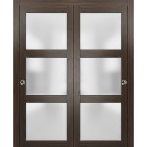 Sliding Closet Frosted Glass Bypass Doors | Lucia 2552 Chocolate Ash | Sturdy Rails Moldings Trims Hardware Set | Wood Solid Bedroom Wardrobe Doors