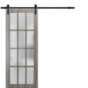 Sturdy Barn Door Frosted Glass 12 Lites | Felicia 3312 Ginger Ash Gray | 6.6FT Rail Hangers Heavy Hardware Set | Solid Panel Interior Doors