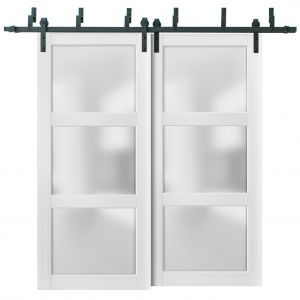 Barn Bypass Doors with 6.6ft Hardware | Lucia 2552 White Silk with Frosted Opaque Glass | Sturdy Heavy Duty Rails Kit Steel Set | Double Sliding Lite Panel Door