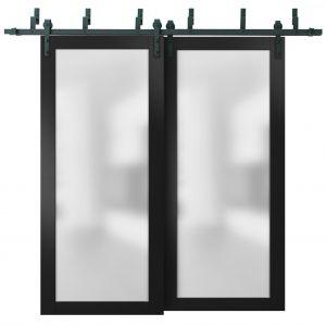 Sliding Closet Frosted Glass Barn Bypass Doors with Hardware   Planum 2102 Black Matte   Sturdy 6.6ft Rails Hardware Set   Modern Wood Solid Bedroom Wardrobe Doors