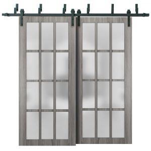 Sliding Closet Frosted Glass 12 Lites Barn Bypass Doors | Felicia 3312 Ginger Ash Gray | Sturdy 6.6ft Rails Hardware Set | Wood Solid Bedroom Wardrobe Doors