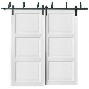 Barn Bypass Doors with 6.6ft Hardware | Lucia 2661 White Silk | Sturdy Heavy Duty Rails Kit Steel Set | Double Sliding Kitchen Pantry Shaker Panel Door