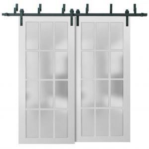 Sliding Closet Frosted Glass 12 Lites Barn Bypass Doors | Felicia 3312 Matte White | Sturdy 6.6ft Rails Hardware Set | Wood Solid Bedroom Wardrobe Doors