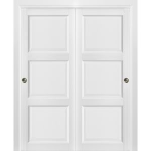 Sliding Closet Bypass Doors with hardware | Lucia 2661 White Silk | Sturdy Rails Moldings Trims Hardware Set | Pantry Kitchen 3-Panels Wooden Solid Bedroom Wardrobe Doors