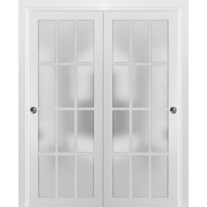 Sliding Closet Frosted Glass 12 Lites Bypass Doors | Felicia 3312 Matte White | Sturdy Rails Moldings Trims Hardware Set | Wood Solid Bedroom Wardrobe Doors
