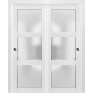 Sliding Closet Bypass Doors with hardware | Lucia 2552 White Silk with Frosted Opaque Glass | Sturdy Rails Moldings Trims Set | Kitchen Lite Wooden Solid Bedroom Wardrobe Doors