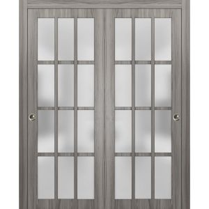 Sliding Closet Frosted Glass 12 Lites Bypass Doors | Felicia 3312 Ginger Ash Gray | Sturdy Rails Moldings Trims Hardware Set | Wood Solid Bedroom Wardrobe Doors