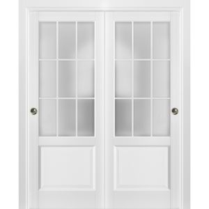 Sliding Closet Frosted Glass 9 Lites Bypass Doors | Felicia 3309 Matte White | Sturdy Rails Moldings Trims Hardware Set | Wood Solid Bedroom Wardrobe Doors
