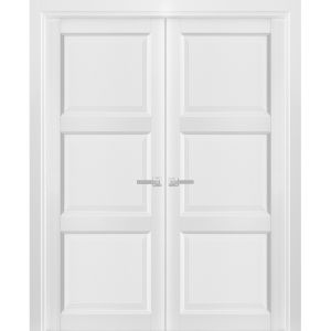 French Double Panel Solid Doors with Hardware | Lucia 2661 White Silk | Panel Frame Trims | Bathroom Bedroom Interior Sturdy Door