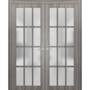 Solid French Double Doors Frosted Glass 12 Lites | Felicia 3312 Ginger Ash Gray | Single Regural Panel Frame Trims | Bathroom Bedroom Sturdy Doors