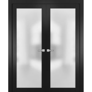 Modern Solid French Double Doors with Handles   Planum 2102 Black Matte   Single Regural Panel Frame Trims   Bathroom Bedroom Sturdy Doors