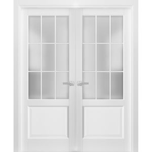 Solid French Double Doors Frosted Glass 9 Lites | Felicia 3309 Matte White | Single Regural Panel Frame Trims | Bathroom Bedroom Sturdy Doors