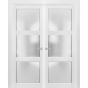 French Double Panel Lite Doors with Hardware | Lucia 2552 White Silk with Frosted Opaque Glass | Panel Frame Trims | Bathroom Bedroom Interior Sturdy Door