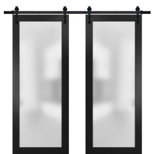 Sturdy Double Barn Door with Frosted Glass   Planum 2102 Black Matte   13FT Rail Hangers Heavy Set   Modern Solid Panel Interior Doors