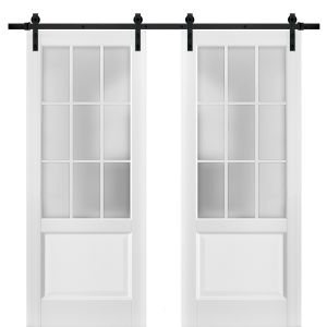 Sturdy Double Barn Door with Frosted Glass 9 Lites | Felicia 3309 Matte White | 13FT Rail Hangers Heavy Set | Solid Panel Interior Doors