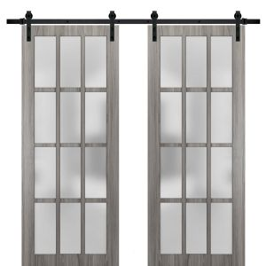 Sturdy Double Barn Door with Frosted Glass 12 Lites | Felicia 3312 Ginger Ash Gray | 13FT Rail Hangers Heavy Set | Solid Panel Interior Doors