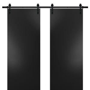Sturdy Double Barn Door with Hardware   Planum 0010 Black Matte   13FT Rail Hangers Heavy Set   Modern Solid Panel Interior Doors