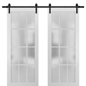 Sturdy Double Barn Door with Frosted Glass 12 Lites | Felicia 3312 Matte White | 13FT Rail Hangers Heavy Set | Solid Panel Interior Doors
