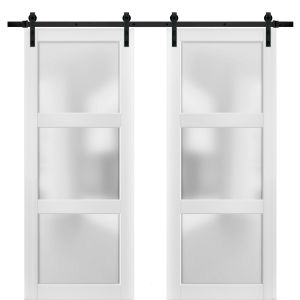 Sliding Double Barn Doors with Hardware | Lucia 2552 White Silk with Frosted Opaque Glass | 13FT Rail Sturdy Set | Kitchen Lite Wooden Solid Panel Interior Bedroom Bathroom Door