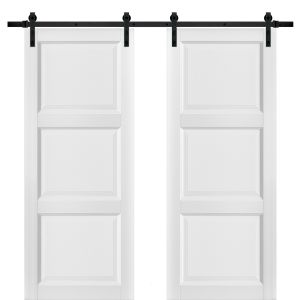 Sliding Double Barn Doors with Hardware | Lucia 2661 White Silk | 13FT Rail Hangers Sturdy Set | Pantry Kitchen 3-Panel Wooden Solid Panel Interior Hall Bedroom Bathroom Door