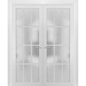 Solid French Double Doors Frosted Glass 12 Lites | Felicia 3312 Matte White | Single Regural Panel Frame Trims | Bathroom Bedroom Sturdy Doors