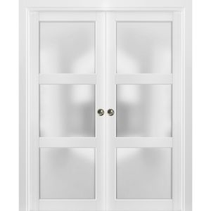 French Double Pocket Doors | Lucia 2552 White Silk with Frosted Opaque Glass | Kit Trims Rail Hardware | Solid Wood Interior Pantry Kitchen Bedroom Sliding Closet Sturdy Door