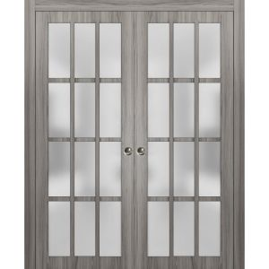 Sliding French Double Pocket Doors Frosted Glass 12 Lites   Felicia 3312 Ginger Ash Gray   Kit Trims Rail Hardware   Solid Wood Interior Bedroom Sturdy Doors