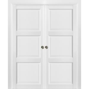 French Double Pocket Doors | Lucia 2661 White Silk | Kit Trims Rail Hardware | Solid Wood Interior Pantry Kitchen Bedroom Sliding Closet Sturdy Door