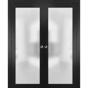 Sliding Double Pocket Door Frosted Tempered Glass   Planum 2102 Black Matte   Kit Trims Rail Hardware   Solid Wood Interior Bedroom Bathroom Closet Sturdy Doors