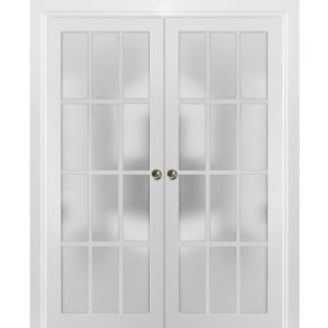 Sliding French Double Pocket Doors Frosted Glass 12 Lites | Felicia 3312 Matte White | Kit Trims Rail Hardware | Solid Wood Interior Bedroom Sturdy Doors