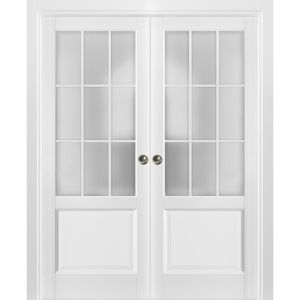Sliding French Double Pocket Doors Frosted Glass 9 Lites | Felicia 3309 Matte White | Kit Trims Rail Hardware | Solid Wood Interior Bedroom Sturdy Doors