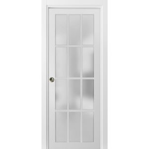 Sliding French Pocket Door with Frosted Glass 12 Lites | Felicia 3312 Matte White | Kit Trims Rail Hardware | Solid Wood Interior Bedroom Sturdy Doors