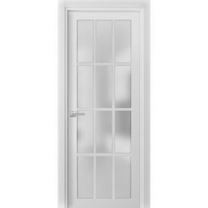 Solid French Door Frosted Glass 12 Lites | Felicia 3312 Matte White | Single Regural Panel Frame Trims Handle | Bathroom Bedroom Sturdy Doors