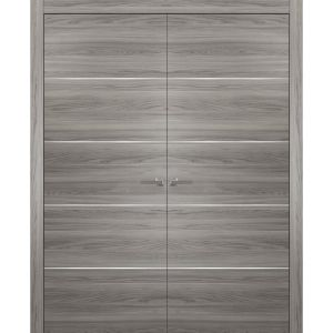 French Double Interior Doors with Hardware   Planum 0020 Ginger Ash   Panel Frame Trims   Bathroom Bedroom Interior Sturdy Door