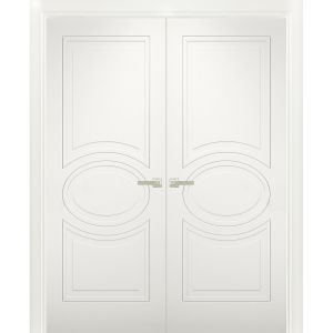 Solid French Double Doors / Mela 7001 Matte White / Wood Solid Panel Frame / Closet Bedroom Modern Doors