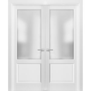 French Double Panel Lite Doors with Hardware | Lucia 22 White Silk with Frosted Opaque Glass | Panel Frame Trims | Bathroom Bedroom Interior Sturdy Door