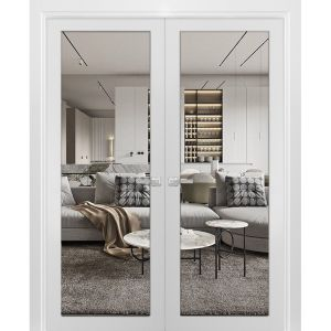 Solid French Double Doors Clear Glass | Lucia 2166 White Silk | Wood Solid Panel Frame Trims | Closet Bedroom Sturdy Doors