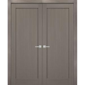 French Double Panel Doors with Hardware | Quadro 4111 Grey Ash | Panel Frame Trims | Bathroom Bedroom Interior Sturdy Door